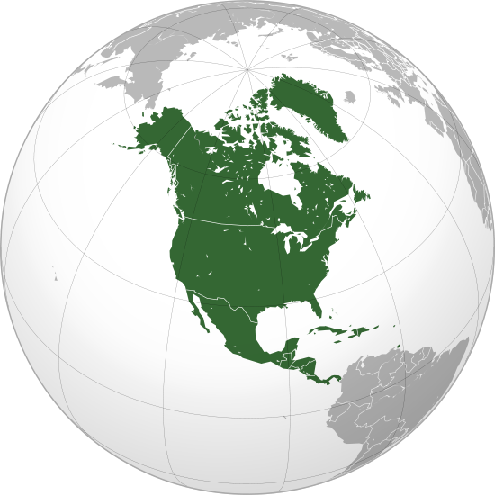 Globe with North-America marked.